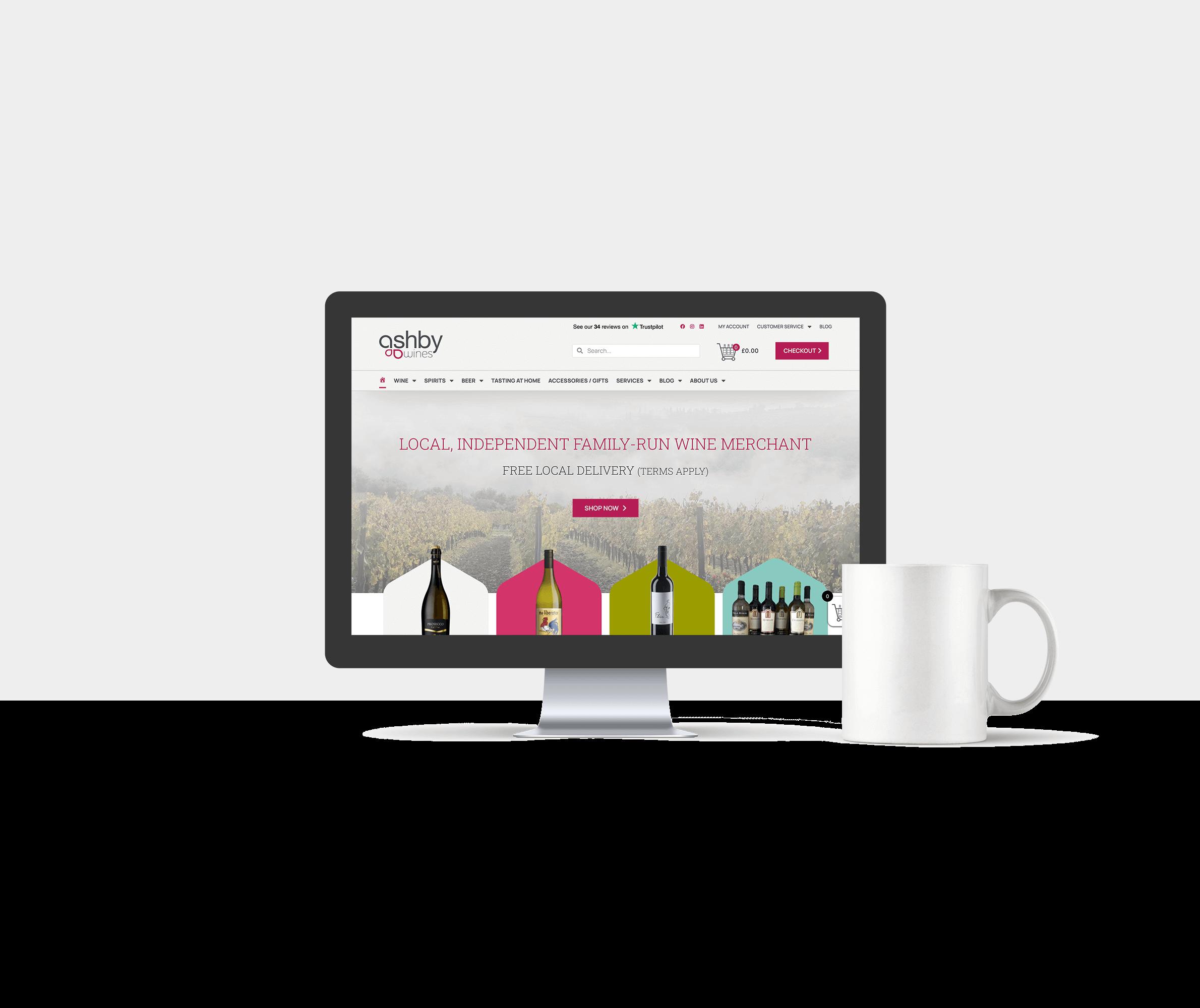 eCommerce website design for Ashby Wines